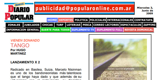 Press Marcelo Nisinman Diario Popular, Argentina