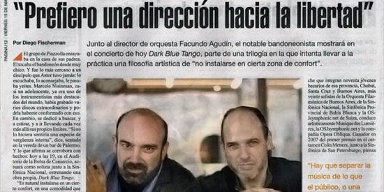 Press Marcelo Nisinman en Página 12, Buenos Aires, Argentina