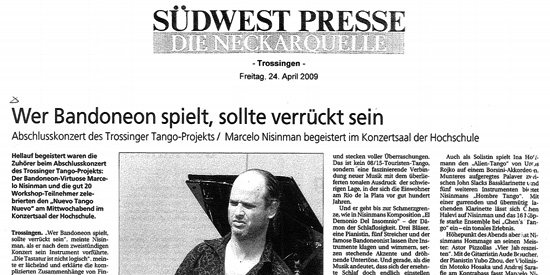 Press Marcelo Nisinman Suedwest Presse, Germany