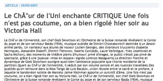Press Marcelo Nisinman Tribune de Geneve, Switzerland